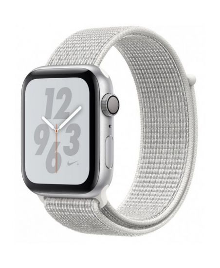 Apple Watch Nike+ Series 4 40 мм, корпус из серебристого алюминия, спортивный браслет Nike цвета «снежная вершина»