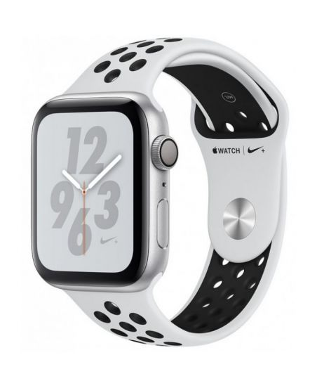 Apple Watch Nike+ Series 4 40 мм, корпус из серебристого алюминия, спортивный ремешок Nike цвета чистая платина/черный