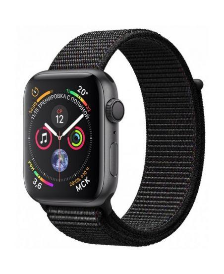 Apple Watch Series 4, 40 мм, корпус из алюминия цвета «серый космос», спортивный браслет черного цвета