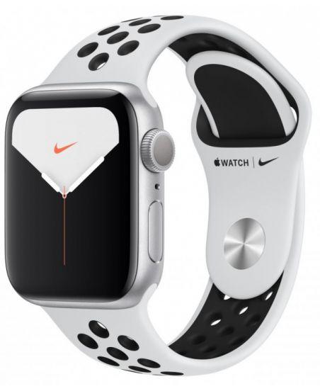 Apple Watch Nike+ Series 5, 44 мм, корпус из алюминия цвета «серебристый», спортивный ремешок Nike цвета чистая платина/черный