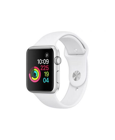 Apple Watch Series 1, 42 мм, корпус из серебристого алюминия, спортивный ремешок белого цвета