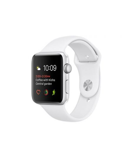 Apple Watch Series 2, 42 мм, корпус из серебристого алюминия, спортивный ремешок белого цвета